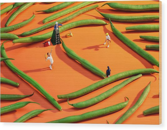 Playing Tennis Among French Beans Little People On Food Wood Print