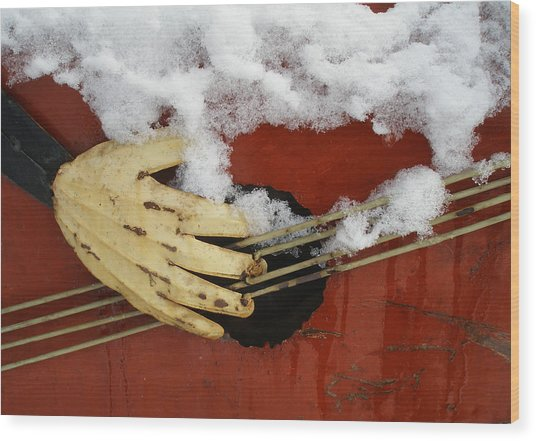 Playing The Cold Blues Wood Print