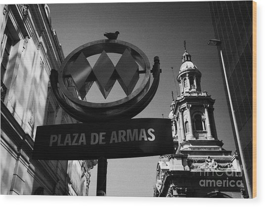 plaza de armas metro station near Santiago Metropolitan Cathedral Chile Wood Print by Joe Fox