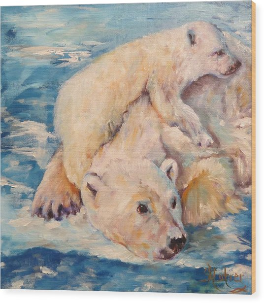 You Need Another Nap, Polar Bears Wood Print