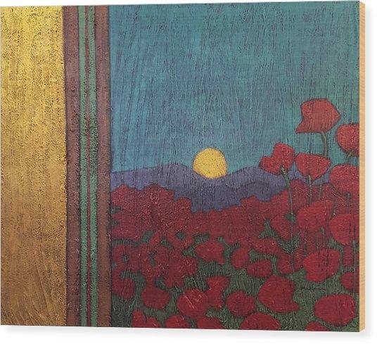 Plentiful Vista With Poppies Wood Print