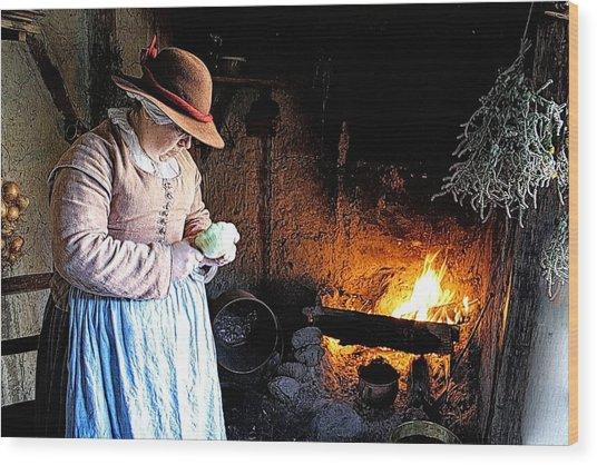 Plimoth Plantation  Pilgrim Fireplace Cooking Wood Print