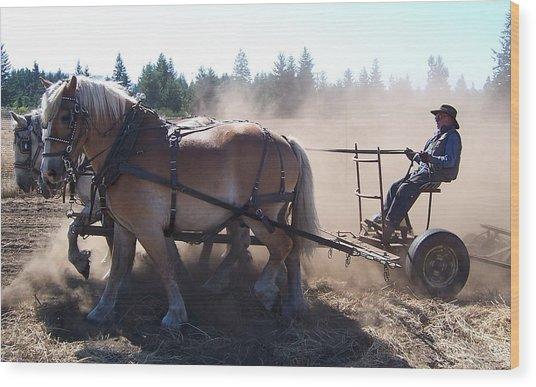 Plough Horses At Work Wood Print