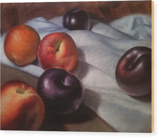 Plums And Nectarines Wood Print by Timothy Jones