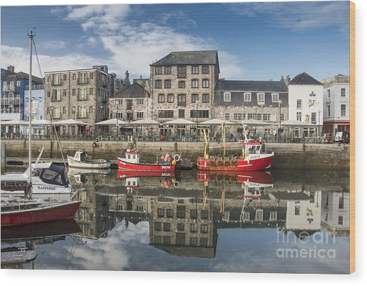 Plymouth Barbican Harbour Wood Print by Donald Davis