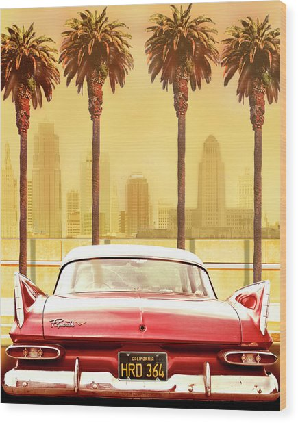 Plymouth Savoy With Palms Wood Print