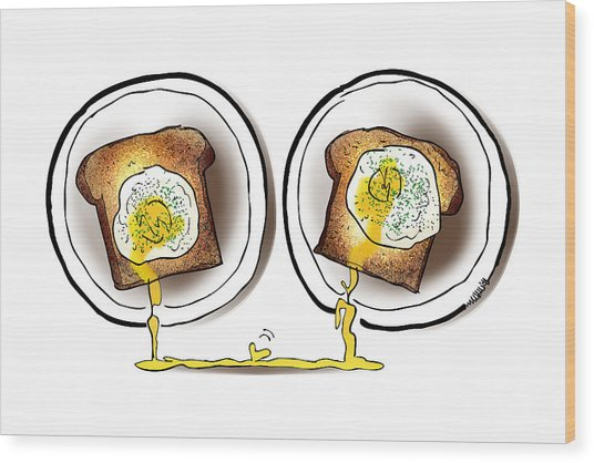 Poached Egg Love Wood Print