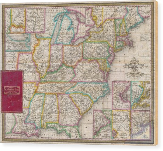 Pocket Map Of The United States Wood Print by Paul Fearn