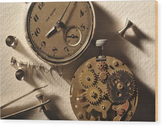 Pocket Watch Macro Number 1 Wood Print by John B Poisson