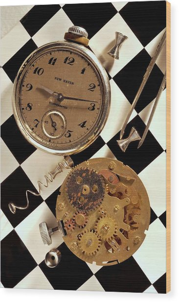 Pocket Watch Macro Number 2 Wood Print by John B Poisson