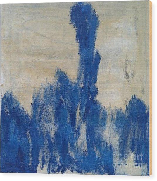 Poetry In Blue Wood Print by Bebe Brookman