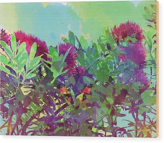 Wood Print featuring the painting Pohutakawa Tree by Jocelyn Friis