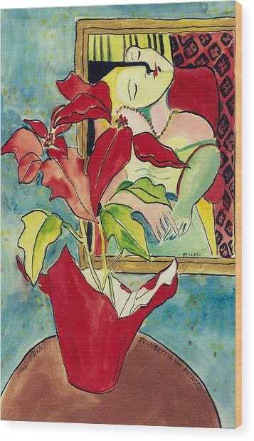 Poinsettia And Picasso Wood Print