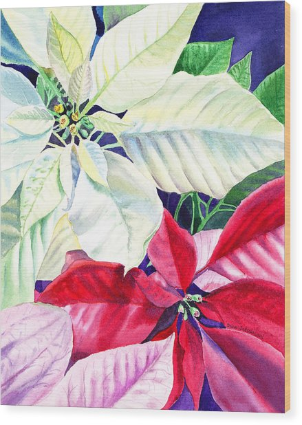 Poinsettia Christmas Collection Wood Print