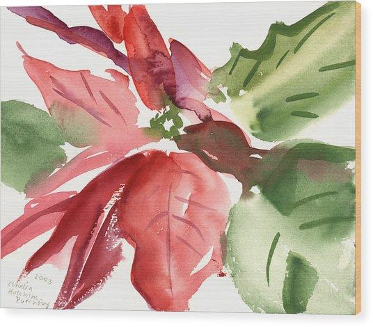 Poinsettia Wood Print
