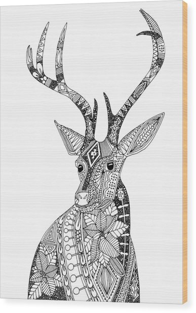 Poinsettia Deer Black White Wood Print
