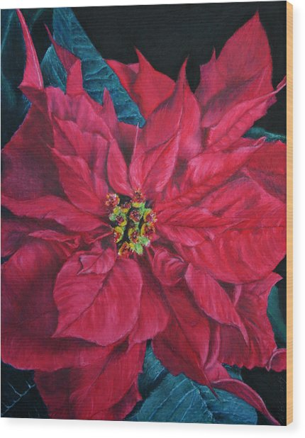Poinsettia II Painting Wood Print