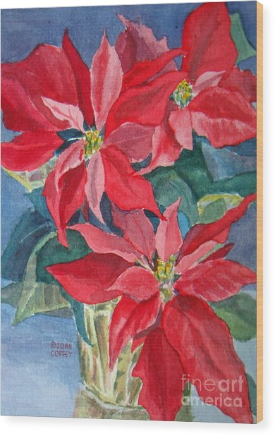 Poinsettias In Gold Wood Print
