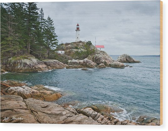 Point Atkinson Lighthouse And Rocky Shore Wood Print