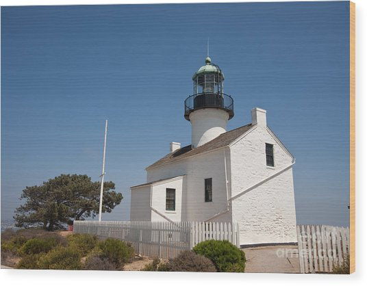 Point Loma Lighthouse Wood Print by Russell Christie