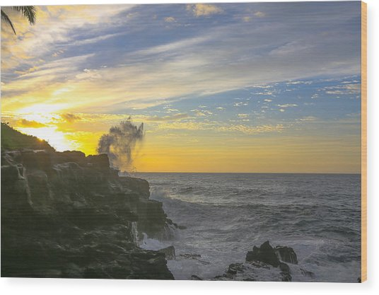 Poipu Kauai Sunrise Wood Print by Sam Amato