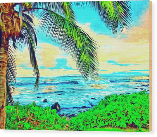 Poipu Sunrise Wood Print
