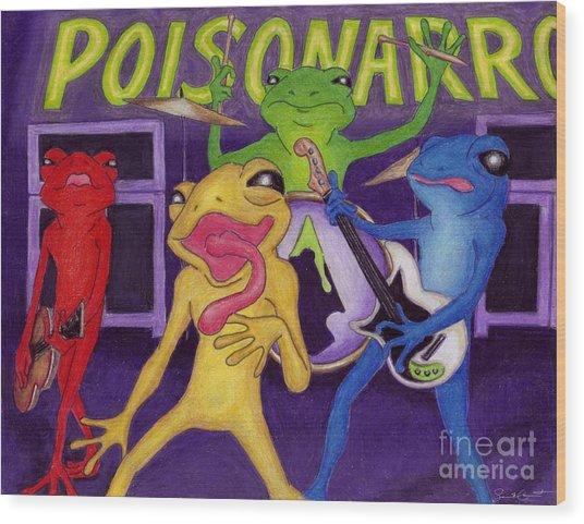 Poison-arrow Frog Band Wood Print