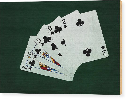Poker Hands - Flush 3 Wood Print