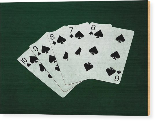 Poker Hands - Straight Flush 1 Wood Print