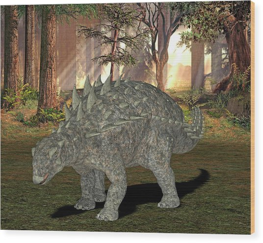 Polacanthus Dinosaur Wood Print by Friedrich Saurer
