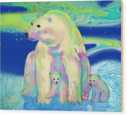 Polar Bear Aurora Wood Print