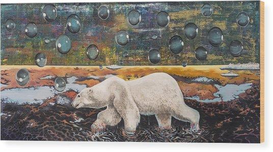 Polar Bear Displacement Replacement Wood Print
