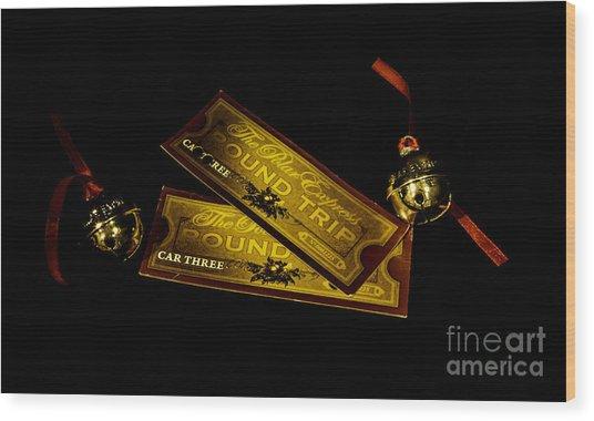 Polar Express Tickets Wood Print
