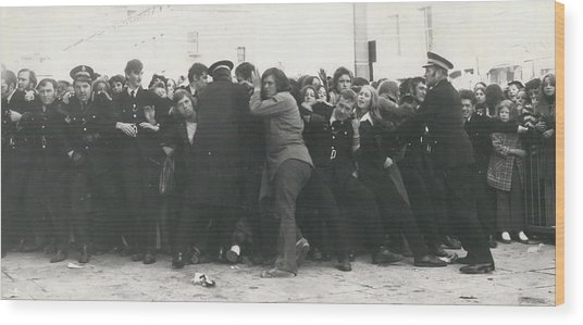 Police Hold Back Screaming Fans Trying To Get Tickets Wood Print by Retro Images Archive