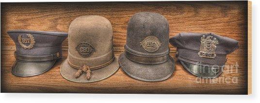 Police Officer - Vintage Police Hats Wood Print