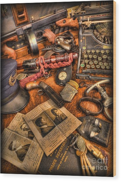 Police Officer- The Detective's Desk II Wood Print