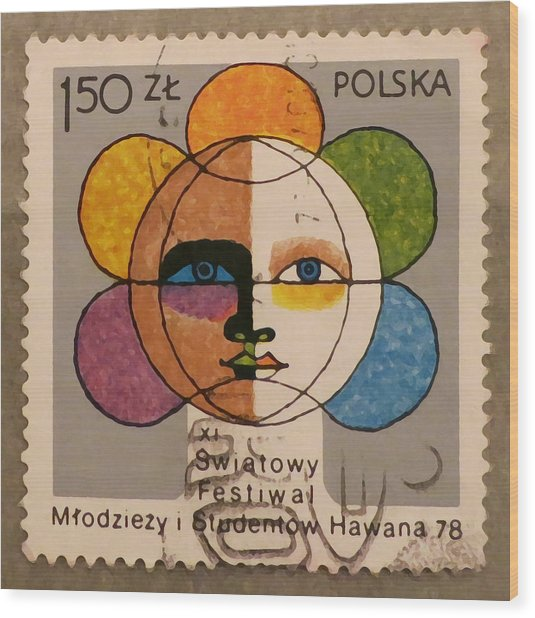 Polish Stamp - World Festival Of Youth And Students In Havana 1978 Wood Print