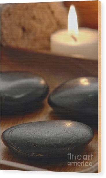 Polished Stones In A Spa Wood Print