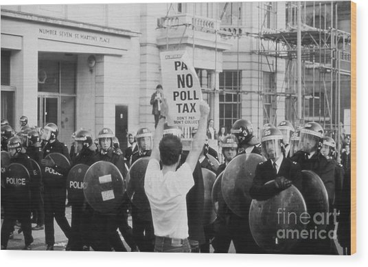 Poll Tax Riots London Wood Print