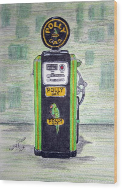 Polly Gas Pump Wood Print