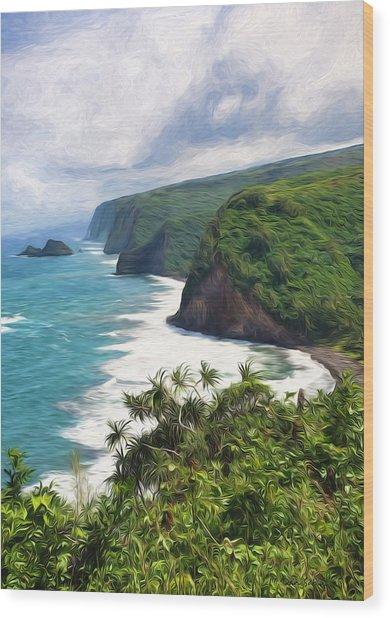 Pololu Valley Beach Wood Print
