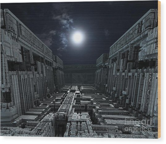 Polychrony Moonlight Wood Print by Bernard MICHEL