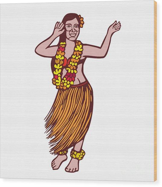 Polynesian Dancer Grass Skirt Linocut Wood Print