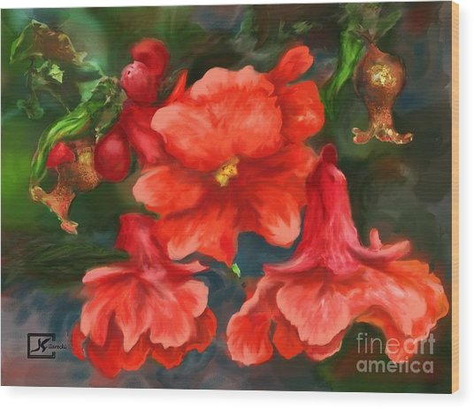 Pomegranate Blooms Floral Painting Wood Print