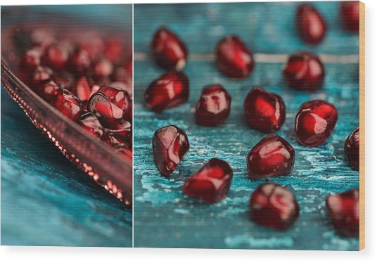 Pomegranate Collage Wood Print