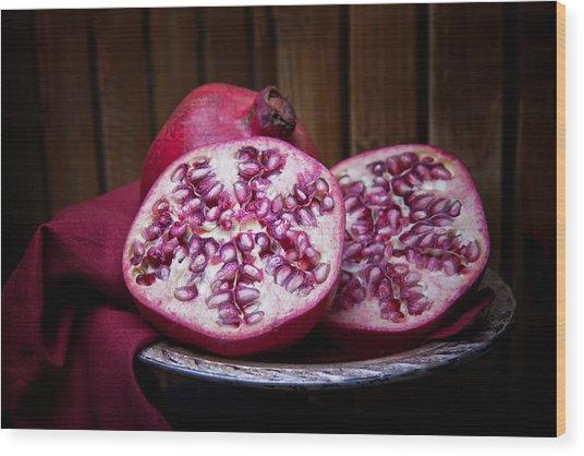 Pomegranate Still Life Wood Print