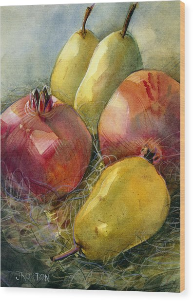Pomegranates And Pears Wood Print