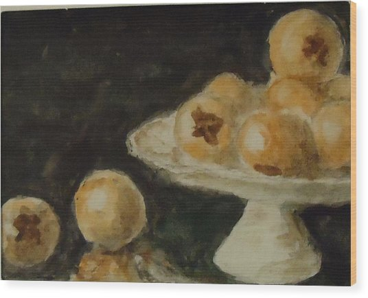 Pomegranates Wood Print by Katie Spicuzza