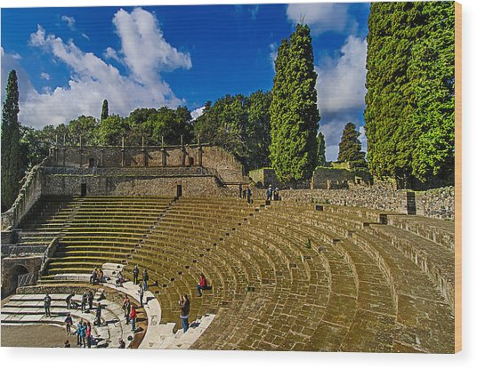 Wood Print featuring the photograph Pompei Teatro Principale - Main Theatre by Enrico Pelos