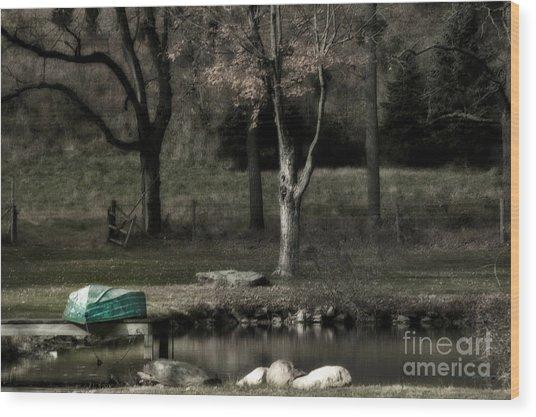 Pond Boat Wood Print
